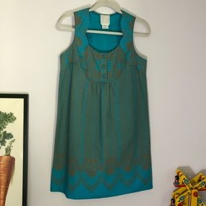Anna Sui for Anthropologie Art Deco teal dress